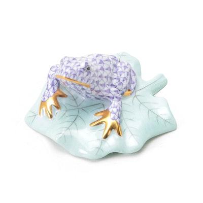 "Herend Purple Fishnet ""Frog on Lily Pad"" Porcelain Figurine"
