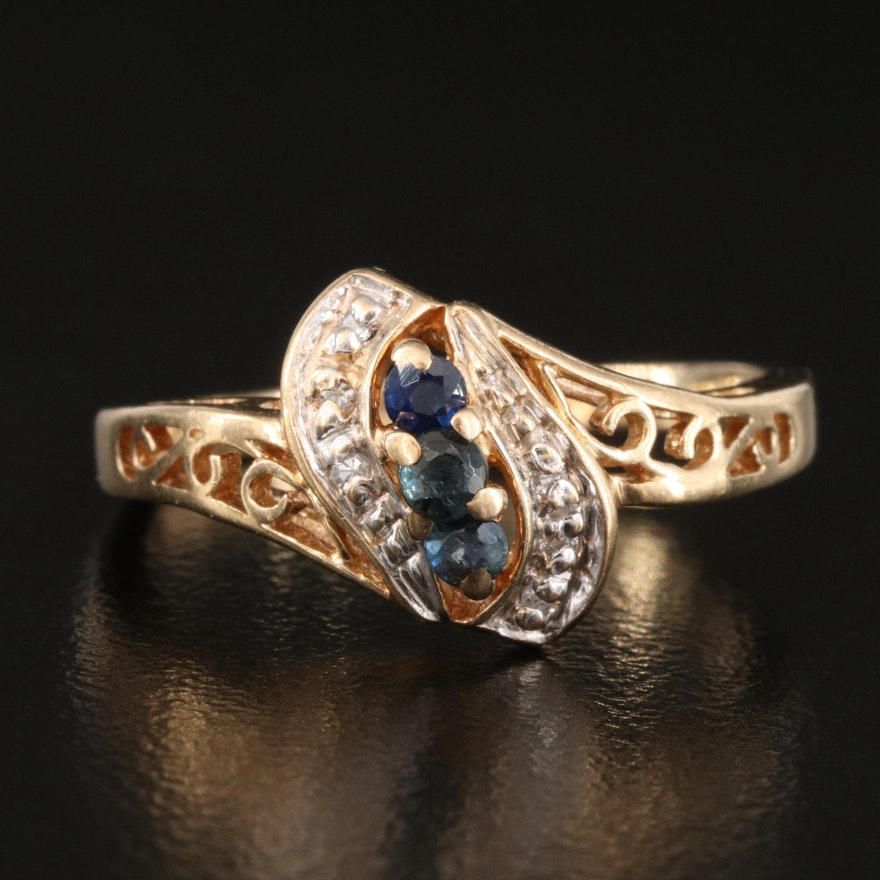 10K Sapphire and Diamond Scrollwork Ring