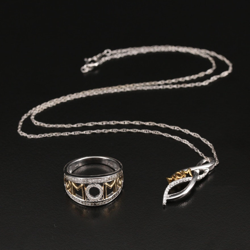 """Sterling Cubic Zirconia """"Mom"""" Necklace and Diamond Ring"""
