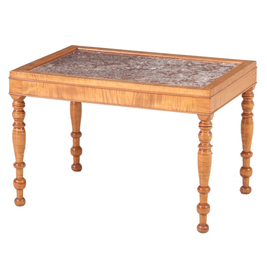 American Primitive Style Tiger Maple and Rouge Marble Side Table