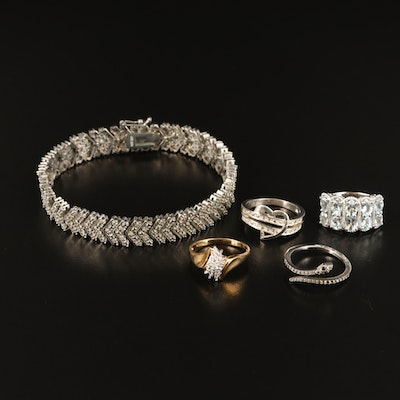 Rings and Bracelet Includes Aquamarine, Diamond, Cubic Zirconia, Heart and Snake