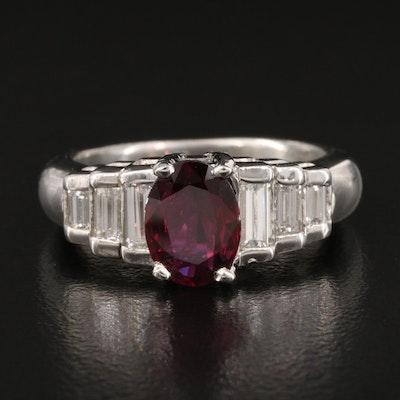 Platinum 1.45 CT Ruby and Diamond Ring