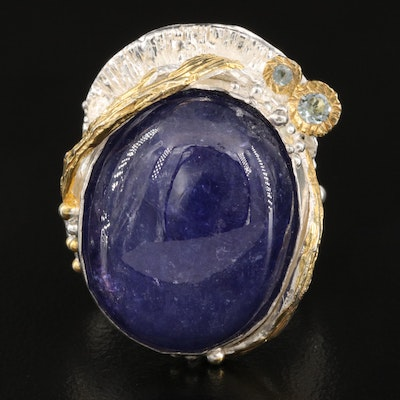 Sterling Tanzanite and Topaz Ring