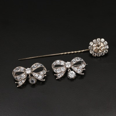 Antique Sévigné Sterling Glass Bow Brooches and Stick Pin