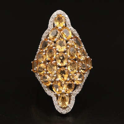 Sterling Citrine and Zircon Cluster Ring