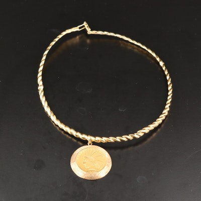 18K Necklace with 14K Coin Bezel Holding a 1910 Indian Head Gold Eagle Coin