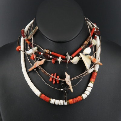 Beaded and Fetish Necklaces with Abalone, Coral and Horn