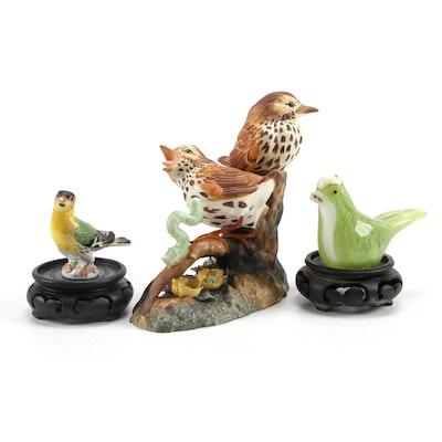 "Royal Crown Derby ""Thrush Chicks"" Bone China Figurine with Other Bird Figurines"