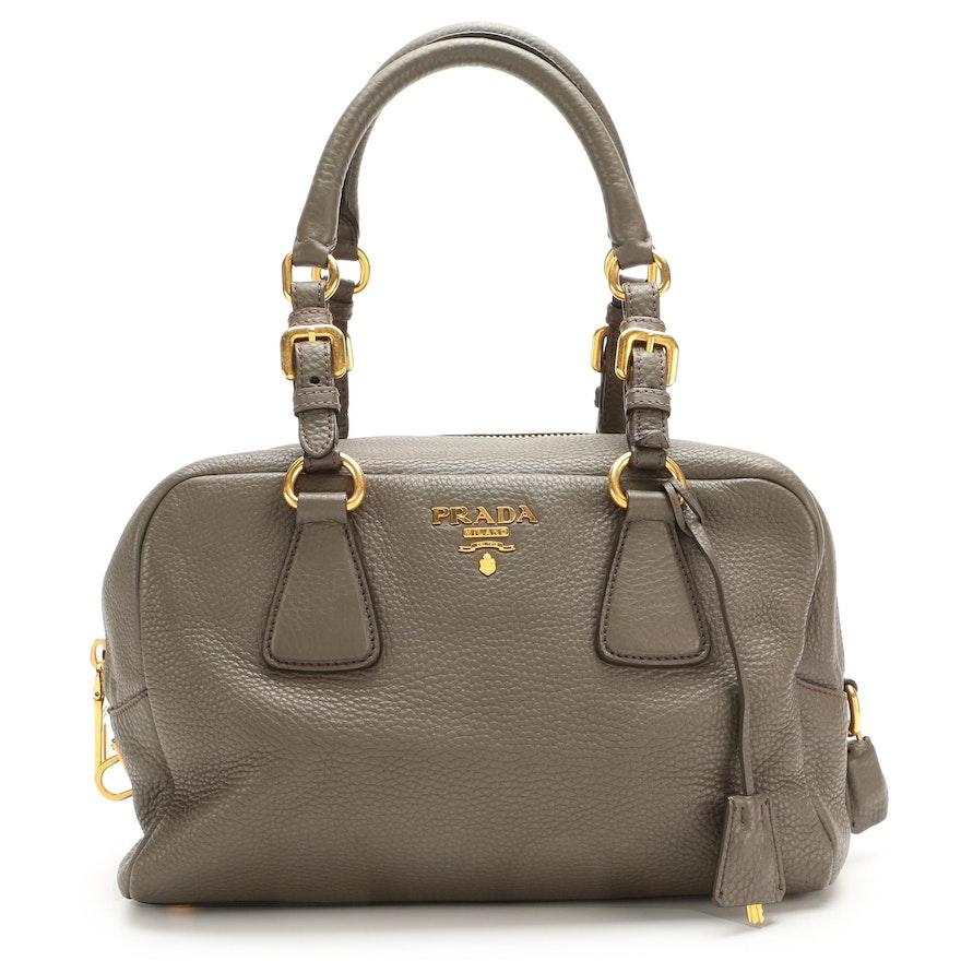 Prada Gray Pebbled Leather Shoulder Bag