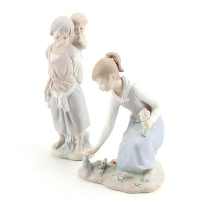 """Lladró """"Girl Gathering Flowers"""" and Other Porcelain Figurines"""