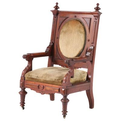 Victorian Walnut and Burl Walnut Armchair, Late 19th Century
