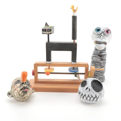 "Harmony Ball Co. ""Grinning Cat"" with Ceramic Halloween Decor"