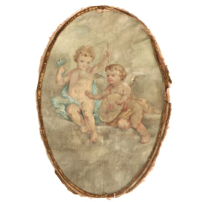Oil Painting of Cupid and Target, Early to Mid-20th Century