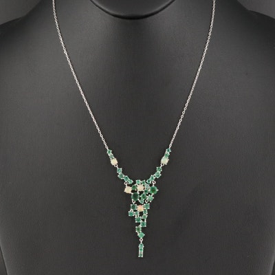 Sterling Emerald and Opal Stationary Pendant Necklace