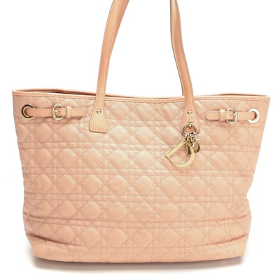 Christian Dior Panarea Pink Cannage Coated Canvas and Leather Tote
