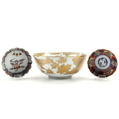 Japanese Imari  Dishes and Other Gilt Porcelain Centerpiece Bowl