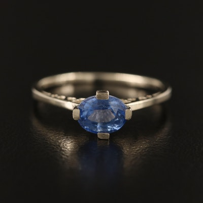 14K Sapphire East-West Solitaire Ring