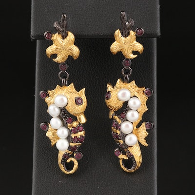 Sterling Seahorse Earrings with Pearl and Garnet
