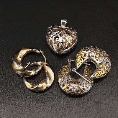Sterling Hoop Earrings and Openwork Heart Pendant