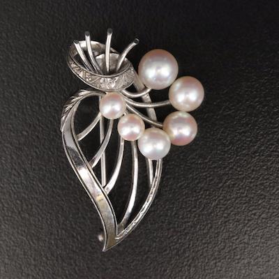 Vintage Mikimoto Sterling Pearl Brooch