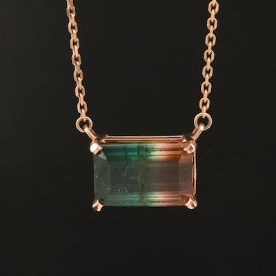 14K 6.31 CT Parti-Colored Tourmaline Necklace