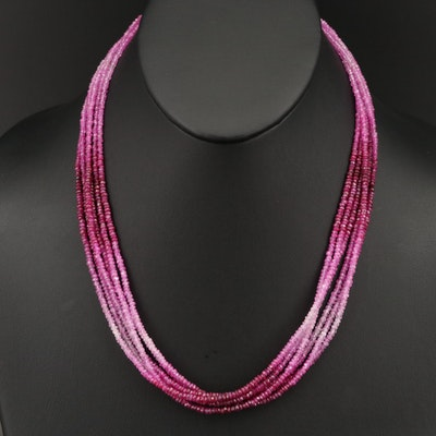 Six Strand Ruby and Sapphire Beaded Torsade with 14K Clasp