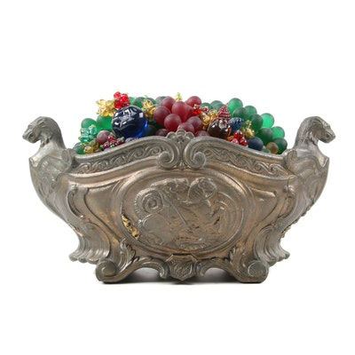 Czech Art Glass Fruit Bowl Table Light Centerpiece, Early to Mid-20th Century