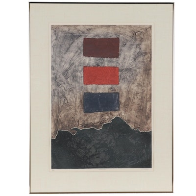 """John M. Chious Abstract Etching with Aquatint """"Transition,"""" Late 20th Century"""