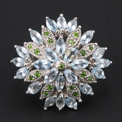 Sterling Topaz and Diopside Cluster Ring