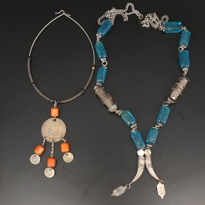 Antique Middle Eastern Necklaces with Basmala Pendants