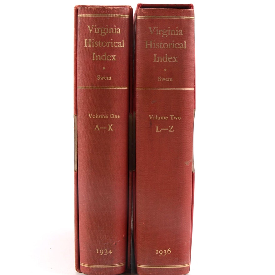 """""""Virginia Historical Index"""" Two-Volume Set, by E. G. Swem, 1934–1936"""