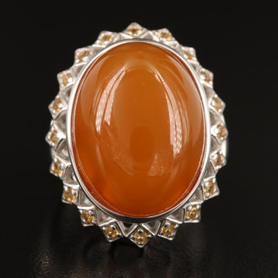 Sterling Carnelian and Citrine Ring