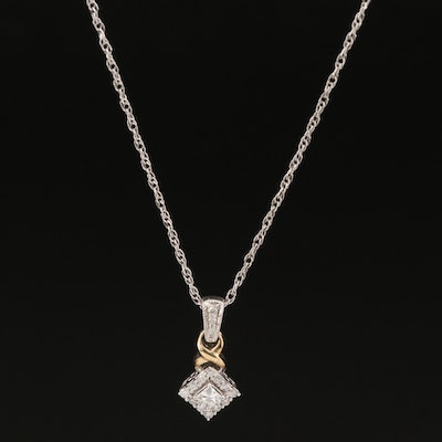 Sterling Silver Diamond Pendant Necklace with 10K Accent