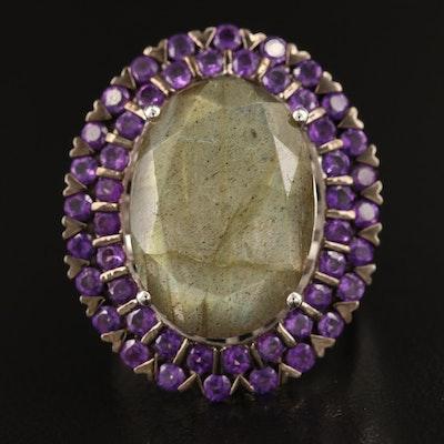 Sterling Labradorite and Amethyst Ring