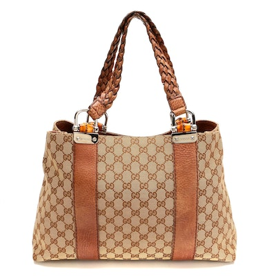 Gucci Bamboo Bar Tote in GG Canvas and Grained Leather with Braided Straps