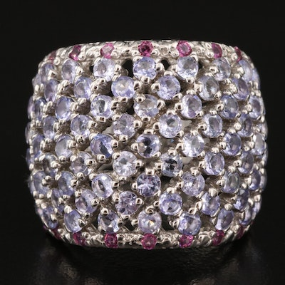 Sterling Tanzanite and Garnet Wide Dome Ring