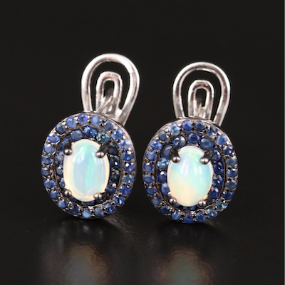 Sterling Silver Opal and Sapphire Oval Earrings