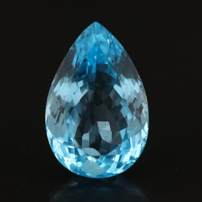 Loose 28.29 CT Pear Faceted Swiss Blue Topaz