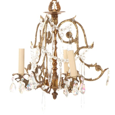 Palette Studios Three-Arm Brass and Crystal Chandelier