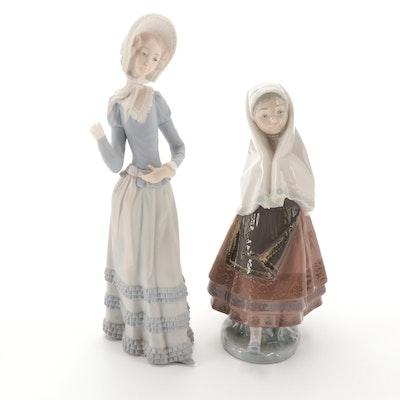 "Lladró ""Lagartera Girl"" and ""Aranjuez Little Lady"" Porcelain Figurines"