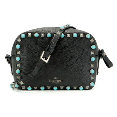 Valentino Rockstud Crossbody Bag with Imitation Turquoise Accents