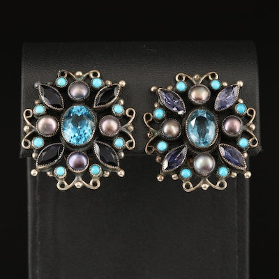 Southwestern Leo Feeney Sterling Clip Earrings Including Topaz, Iolite and Pearl