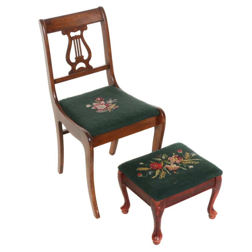 Tell City Chair Co. Classical Style Chair with Footstool, Mid-20th Century