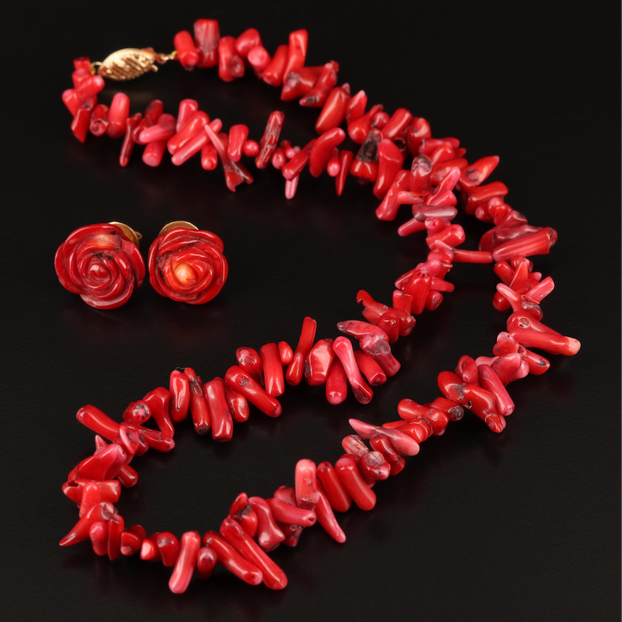 Branch Coral Beaded Necklace with 14K with Flower Earrings