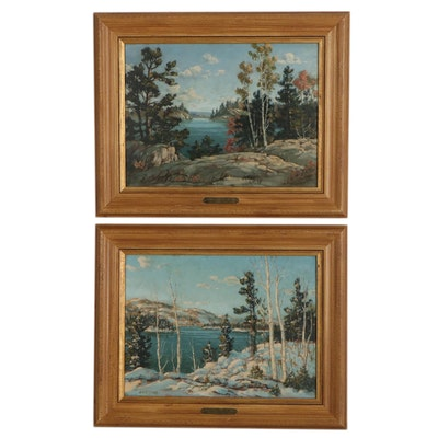 """Otto Planding Oil Paintings """"Summer Birches by Lake,"""" & """"Winter Birches by Lake"""""""