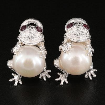 Sterling Silver Pearl and Garnet Frog Earrings
