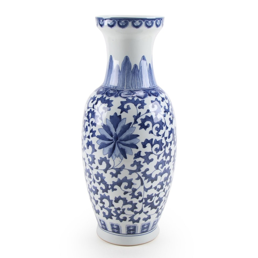 Chinese Ceramic Blue and White  Floral Motif Floor Vase