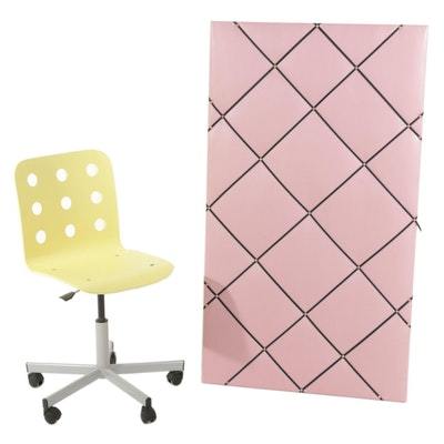"""IKEA """"Jules"""" Beech Plywood and Steel Swivel Chair with Display Board"""