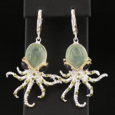 Sterling Silver Prehnite, Diopside and Opal Octopus Earrings