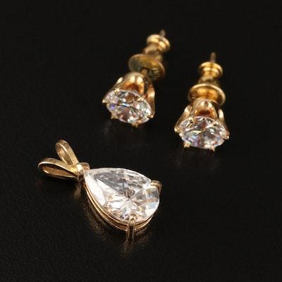 14K Cubic Zirconia Stud Earrings and Pendant